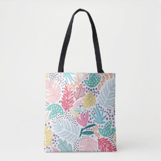 Colourful Tropical Collage Patterned Tote Bag