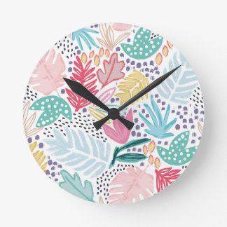 Colourful Tropical Collage White Clock
