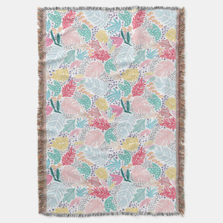 Colourful Tropical Collage White Fringed Blanket