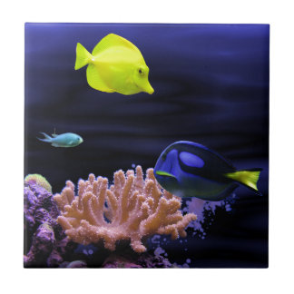 Colourful Tropical Fish Small Square Tile
