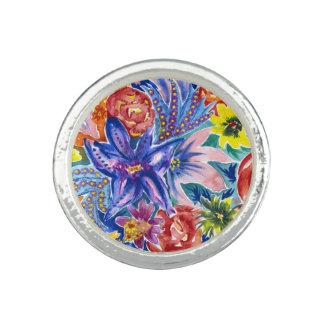 Colourful Tropical Flower Bouquet Watercolor Ring