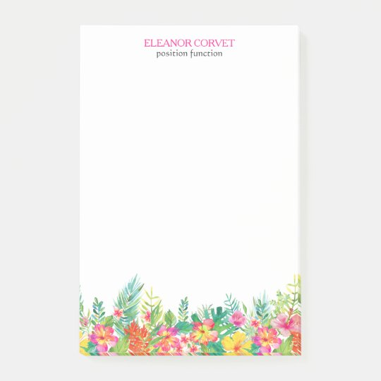 Colourful Tropical Flowers Border Post-it Notes