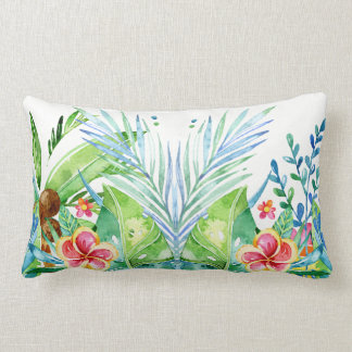Colourful Tropical Flowers Design Lumbar Pillow