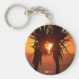 Colourful Tropical Palm Trees Keychain