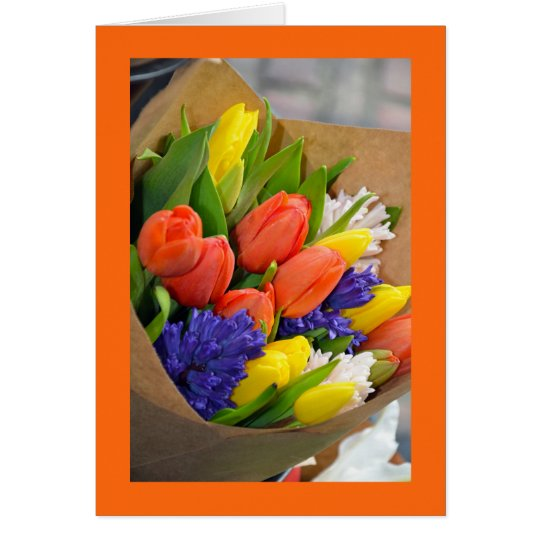 Colourful tulip bouquet greeting card