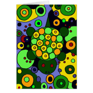 Colourful Turtles and Circles Abstract Art Card
