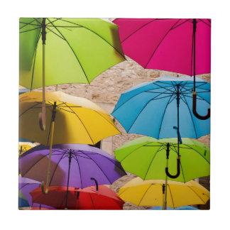 Colourful Umbrellas Ceramic Tile