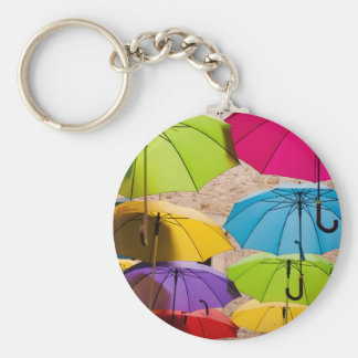 Colourful Umbrellas Key Ring