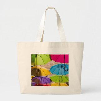 Colourful Umbrellas Large Tote Bag