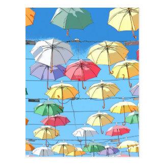Colourful Umbrellas Postcard