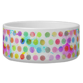 colourful vibrant watercolour splatters polka dots dog food bowl
