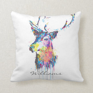 colourful vibrant watercolours splatters deer head throw cushion
