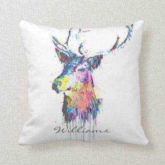 colourful vibrant watercolours splatters deer head throw pillow