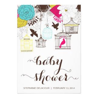 Colourful Vintage Birdcages Baby Shower Invitation