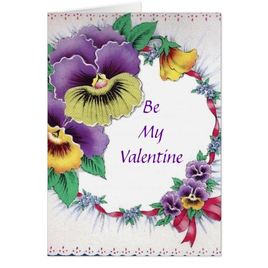 Colourful Vintage Floral Pansy Valentine Card
