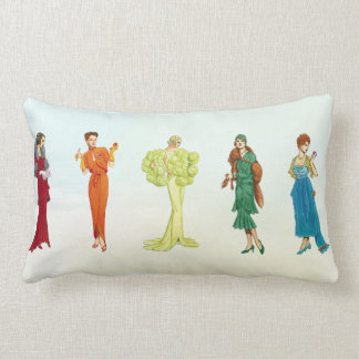 Colourful Vintage Hollywood Fashion Models Lumbar Cushion