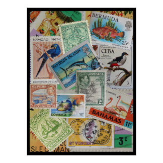 Colourful Vintage Island Stamps Poster Print