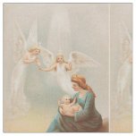 Colourful vintage Mary with baby Jesus textile Fabric