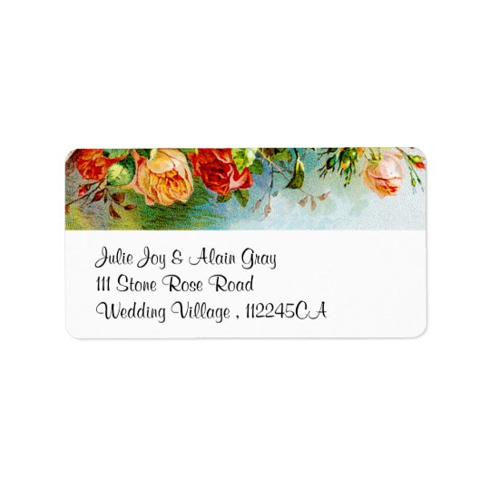Colourful Vintage Roses Address Label