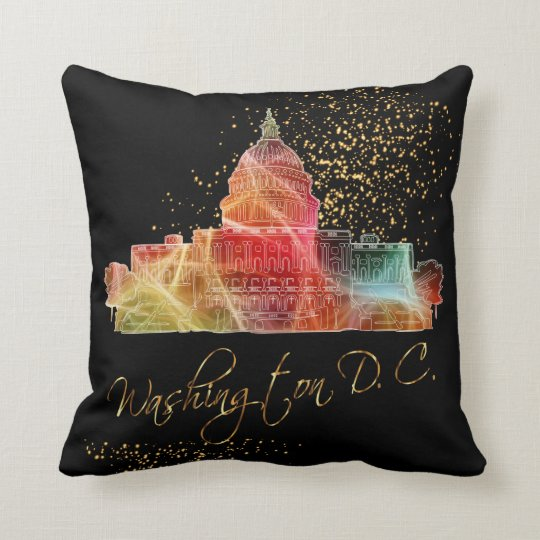 Colourful Washington D.C. White House Throw Pillow