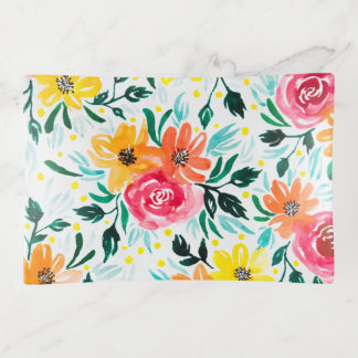 Colourful Watercolor Floral Illustration Pattern Trinket Trays