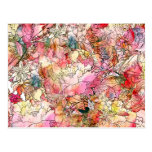 Colourful Watercolor Floral Pattern Abstract Postcard