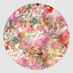 Colourful Watercolor Floral Pattern Abstract Round Sticker