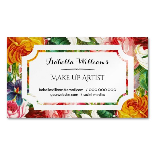 Colourful Watercolor Flowers White Label Magnetic Business Card