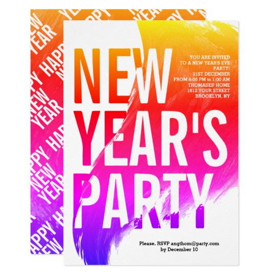 Colourful watercolor New Year's 2018 Eve party Card