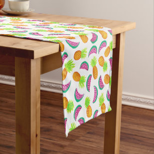 colourful watercolor pineapple watermelon pattern short table runner