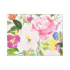 Colourful Watercolor Spring Blooms Floral Doormat