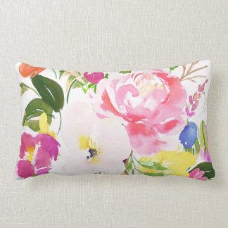 Colourful Watercolor Spring Blooms Floral Lumbar Pillow