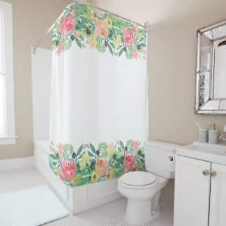 Colourful Watercolors Flowers Border Shower Curtain