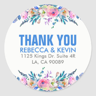 Colourful Watercolors Flowers Bouquet Thank You Round Sticker
