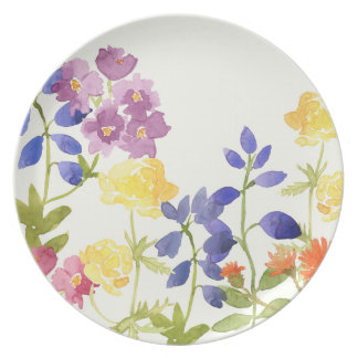 Colourful Watercolour Floral Painting Plate