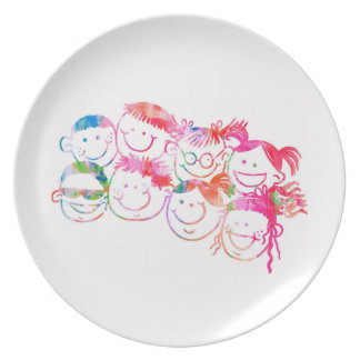 Colourful Watercolour Painting of Kids Smiling Plate