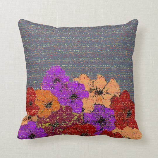 Colourful Wildflowers and Abstract Squiggle Script Cushion