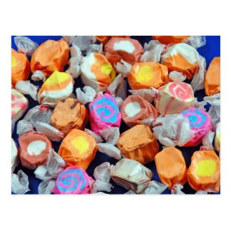 Colourful wrapped taffy candy postcard