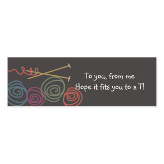 colourful yarn balls knitting needles gift tags pack of skinny business cards