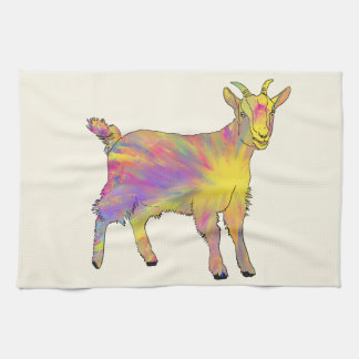 Colourful Yellow Flaming Art Goat Animal Design Tea Towel