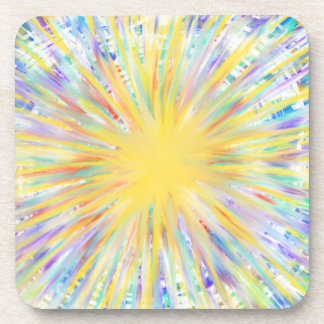 Colourful Yellow Starburst Abstract Art Design Coaster
