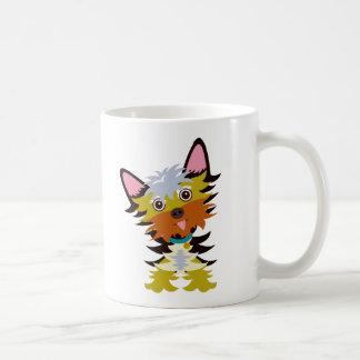 Colourful Yorkshire Terrier Head Tilt Cartoon Coffee Mug