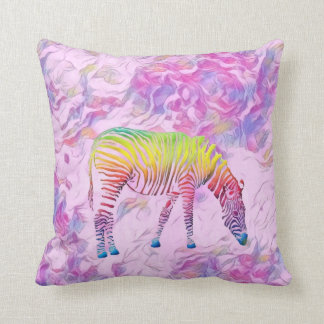 colourful zebra throw pillow