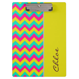 colourful zigzag pattern personalised by name clipboard