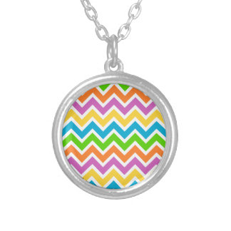 Colourful Zigzag pattern Silver Plated Necklace