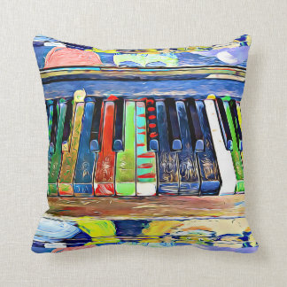 Colourfully Painted Piano Keys Throw Pillow