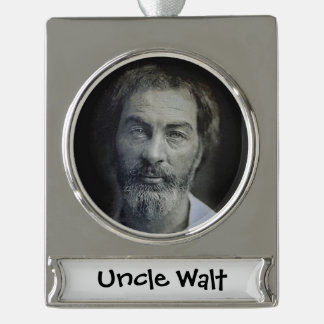 Colourized Walt Whitman Portrait Silver Plated Banner Ornament