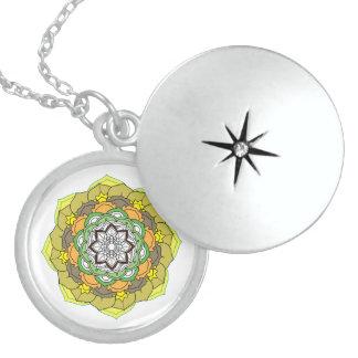 Colours Mandala. Round oriental pattern Locket Necklace