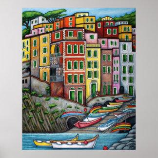 Colours of Riomaggiore, Cinque Terre Poster