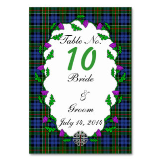 Colquhoun Celtic Wedding Table Number Table Card